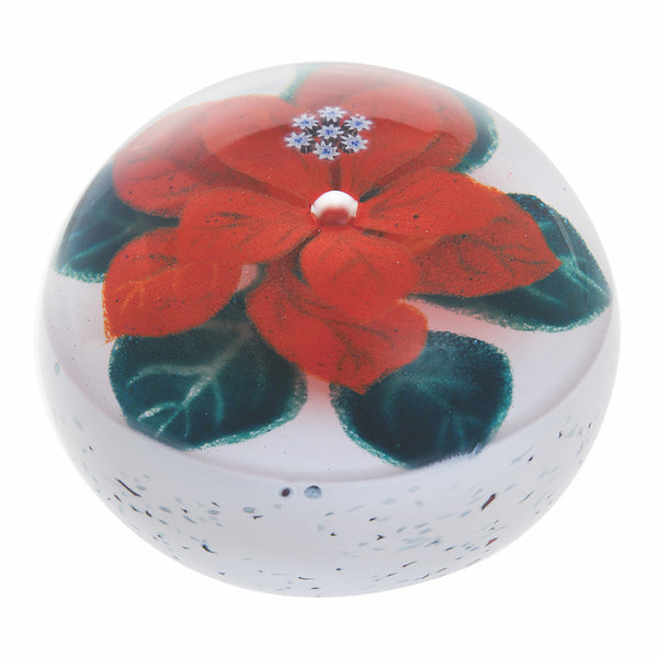 Caithness Glass Winter Poinsettia Paperweight