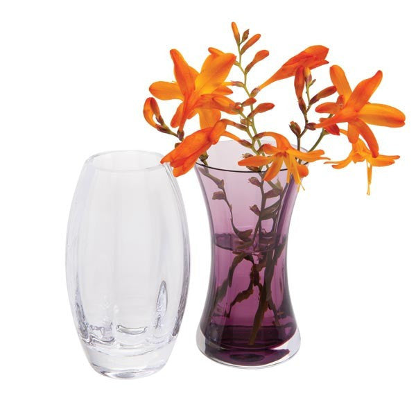 Dartington Crystal Adam and Eve Clear and Amethyst Vase (Pair)