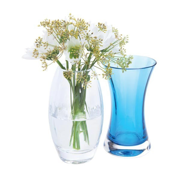 Dartington Crystal Adam and Eve Clear and Teal Vase (Pair) [C]