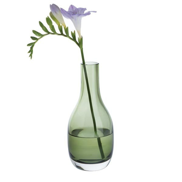 Dartington Crystal Aurora Small Olive Green Vase