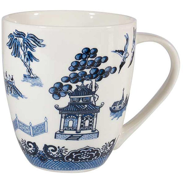 Churchill China Blu Willow Crush White Mug 0.50L