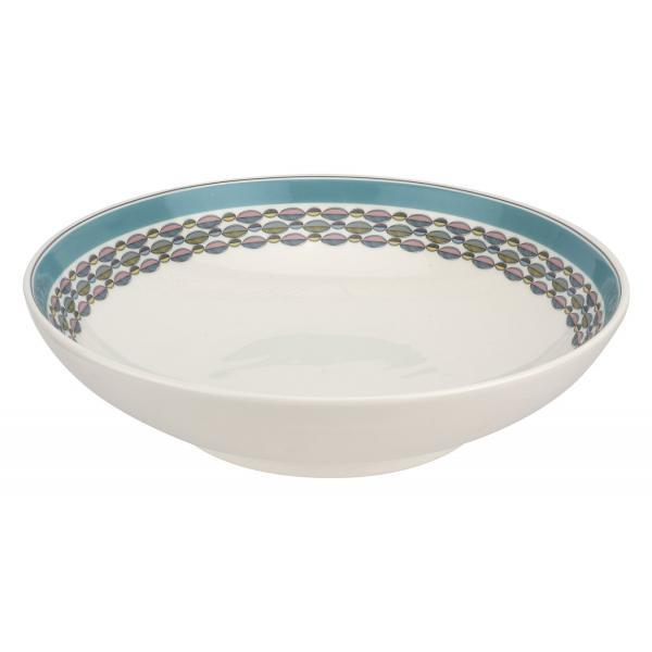 "Portmeirion Westerly Turquoise Low Bowl Serving 12.75"" 32.5cm"