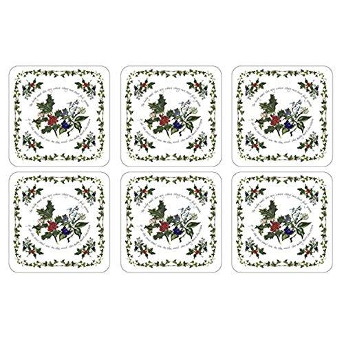 Portmeirion Holly And Ivy Coasters 10.5 By 10.5cm (Set Of 6)