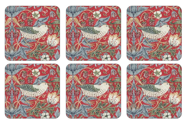 Pimpernel Strawberry Thief Red Coasters 10.5cm (Set of 6)