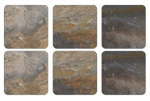 Pimpernel Earth Slate Coasters 10.5cm By 10.5cm (Set Of 6)