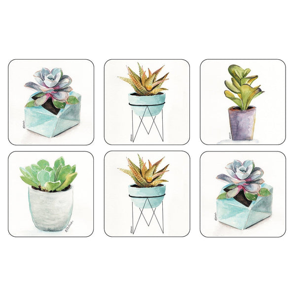 Pimpernel Succulents Coasters 10.5 by 10.5cm (Set of 6)