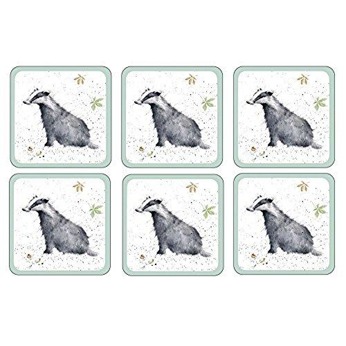 Royal Worcester Wrendale Badger Coaster 10.5cm By 10.5cm (Set Of 8)