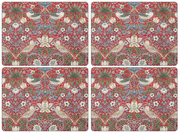 Pimpernel Strawberry Thief Red Placemats 40cm by 30cm (Set of 4)