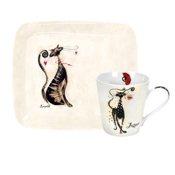 Pimpernel Catitudes Mugs 0.18L And Tray Set