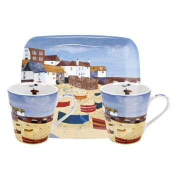 Pimpernel St Ives Windbreak Mugs 0.18L And Tray Set