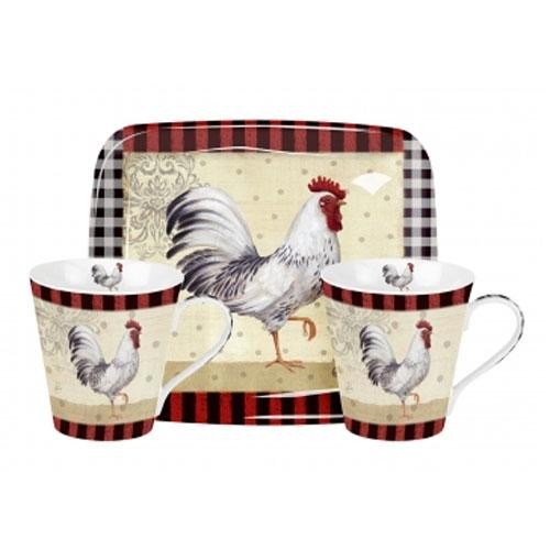 Pimpernel Country Touch Mugs 0.18L And Tray Set