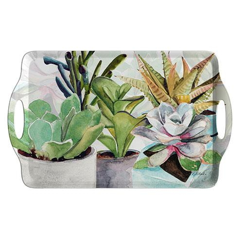 Pimpernel Succulents Large Handled Tray 48 by 29.5cm