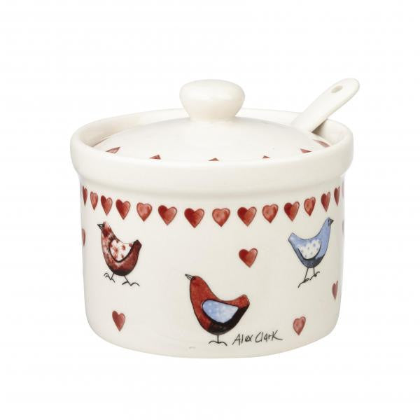 Alex Clark Lovebirds Jam Pot  and Spoon 0.20L