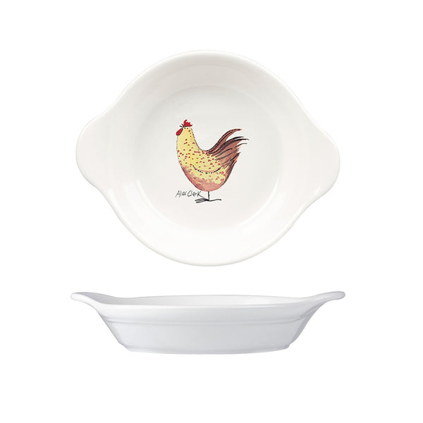 Alex Clark Rooster Round Small Oven Dish 15cm by 18cm