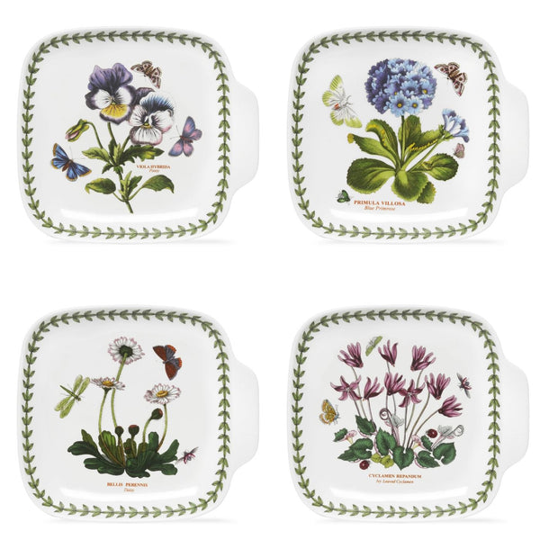Portmeirion Botanic Garden Canape Dishes 7.2in By 6.6in (Set of 4)