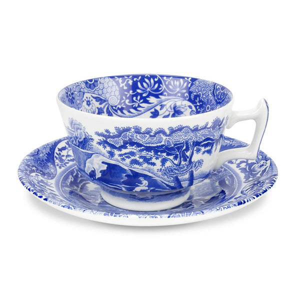 Spode Blue Italian Teacup and Saucer 0.20L (Set of 4)