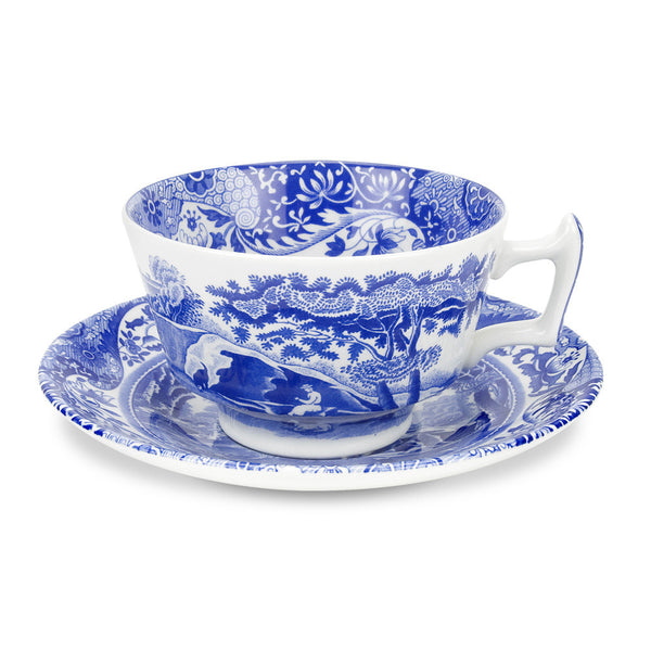 Spode Blue Italian Teacup and Saucer 0.20L