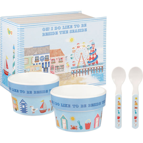 Churchill China Beside The Seaside Melamine Ice Cream Set