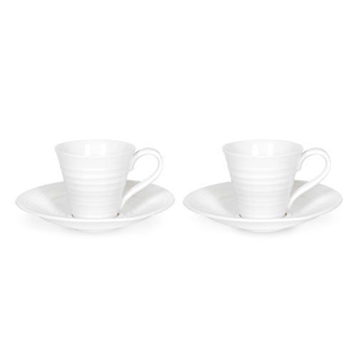 Portmeirion Sophie Conran White Espresso Cup and Saucer 0.08L (Pair)