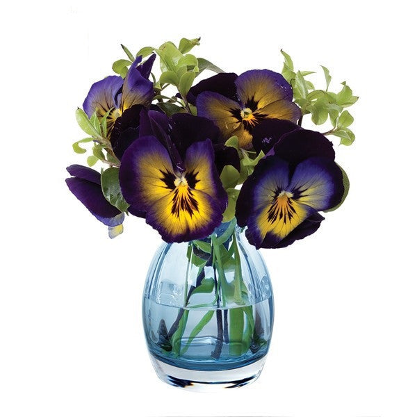 Dartington Crystal Florabundance Colours Pansy Ink Blue Vase