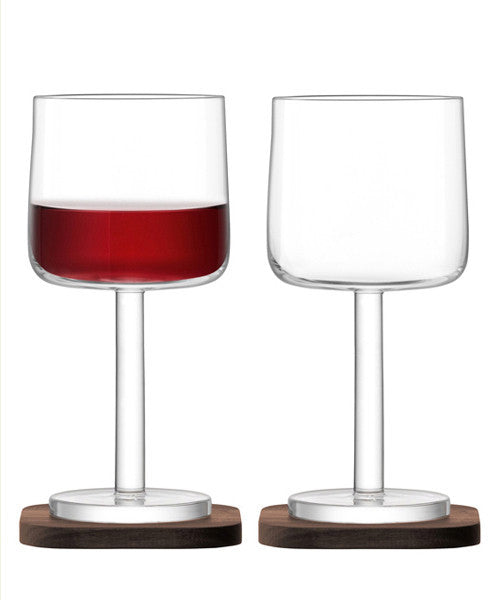 LSA City Red Wine Glass on Walnut Coaster 300ml (Pair)