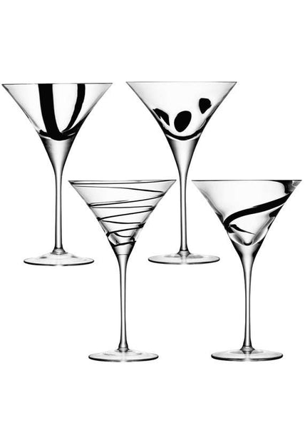 LSA Jazz Black Martini Glass 0.25L (Set of 4)