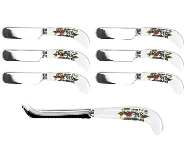 Portmeirion Holly And Ivy Cheese Knife And 6 Spreaders