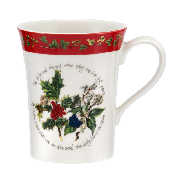 Portmeirion Holly And Ivy Red Border Mug 0.35L
