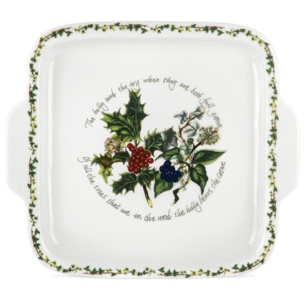 Portmeirion Holly And Ivy Square Handled Cake Plate 32cm