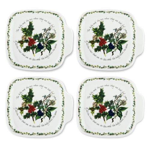 Portmeirion Holly And Ivy Set Of 4 Canape Dishes