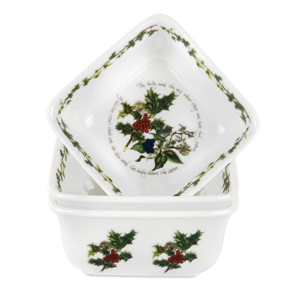 Portmeirion Holly And Ivy Mini Dishes (Set Of 3)