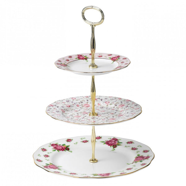 Royal Albert New Country Roses White Three Tier Cake Stand