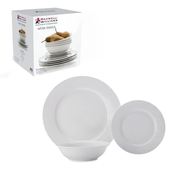 Maxwell and Williams White Basics 12 Piece European Rimmed Dinner Set
