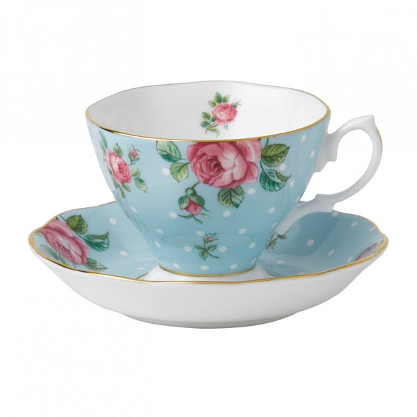 Royal Albert Polka Blue Vintage Teacup and Saucer