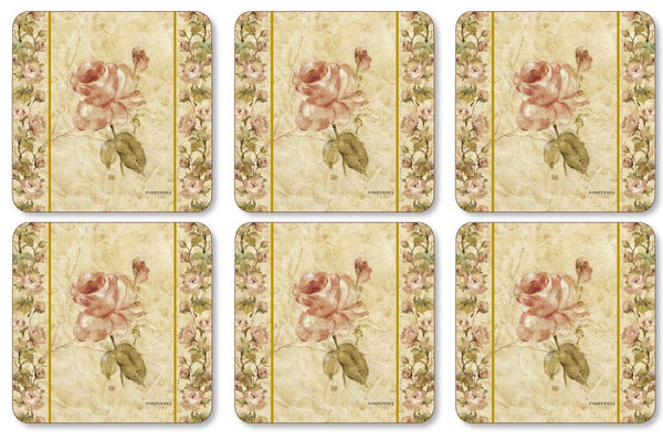 Pimpernel Antique Rose Linen Coasters 10.5cm By 10.5cm (Set Of 6)