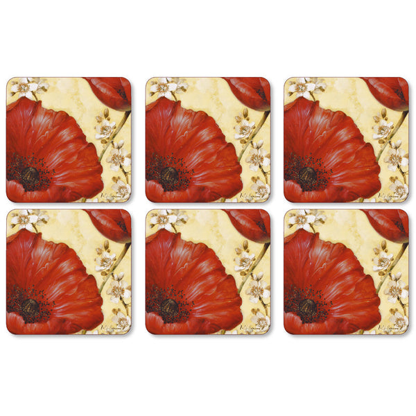 Pimpernel Poppy De Villeneuve Coasters 10.5cm By 10.5cm (Set Of 6)
