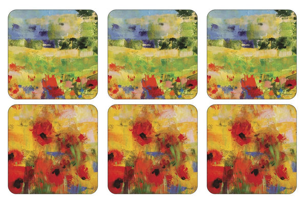Pimpernel Impressionist Flowers Yellow Coasters 10.5cm By 10.5cm (Set Of 6)