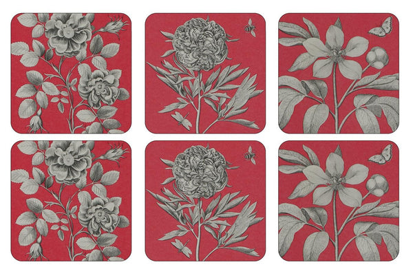 Pimpernel Etchings And Roses Red Coasters 10.5cm By 10.5cm (Set Of 6)