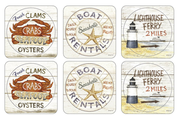 Pimpernel Coastal Signs Coasters 10.5cm By 10.5cm (Set Of 6)