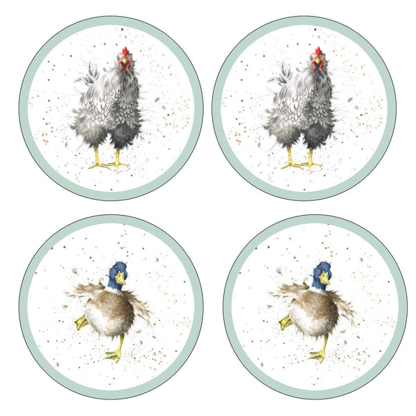 Royal Worcester Wrendale Designs Farmyard Feathers Coasters (Set of 4)