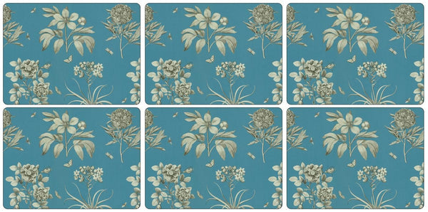 Pimpernel Etchings And Roses Blue Placemats 30.5cm By 23cm (Set Of 6)