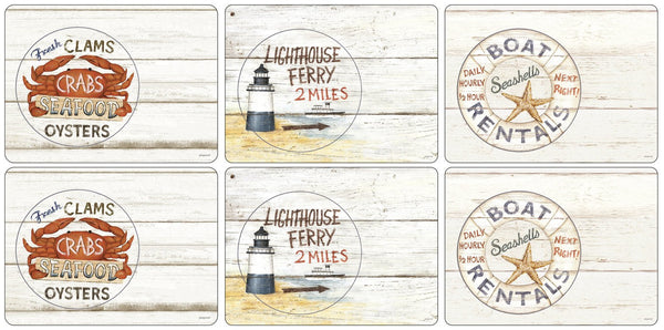 Pimpernel Coastal Signs Placemats 30.5cm By 23cm (Set Of 6)