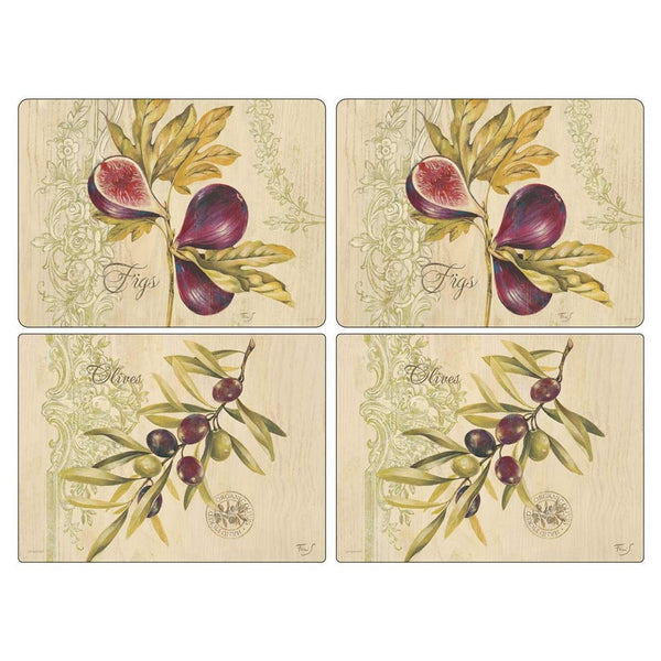 Pimpernel Olives And Figs Placemats 40.1cm By 29.8cm (Set Of 4)