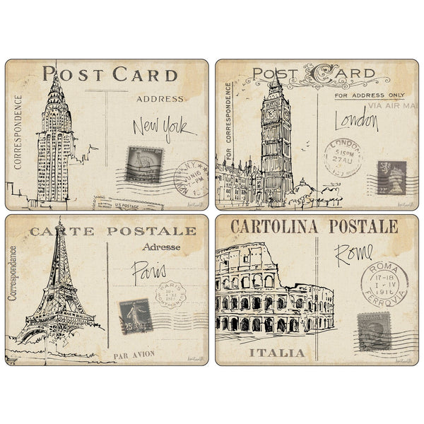 Pimpernel Postcard Sketches Placemats 40.1cm By 29.8cm (Set Of 4)