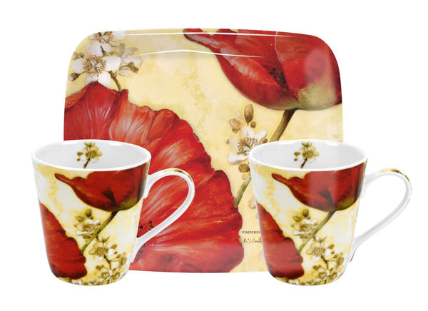Pimpernel Poppy De Villeneuve Mug And Tray Set 0.18L