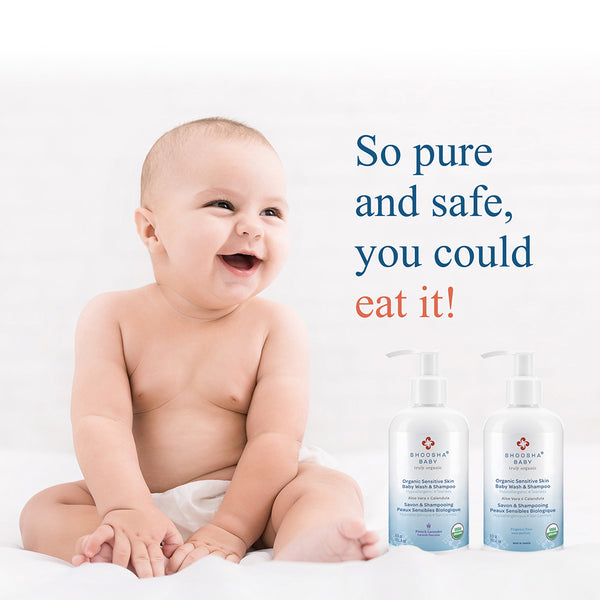 The Sensitive Skin Baby Wash and Shampoo is a product of Shoosha - the first complete USDA certified skin care line in North America. Pure, organic, and true, Shoosha Baby is a 100% certified organic skin care line created for your baby's sensitive skin.  organic, anti-inflammatory, calming, cradle cap, calendula, Aloe Vera, baby, bath