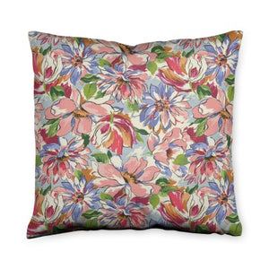 Painterly Floral Pink Throw Pillow