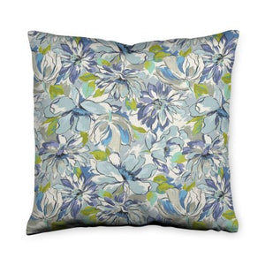 Painterly Floral Green Throw Pillow