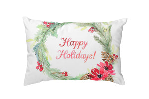 Holly Wreath Throw Pillow