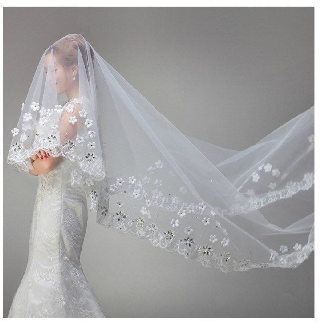White Vintage Tulle Bride Cathedral Long Bridal Lace Wedding Veils with Crystals